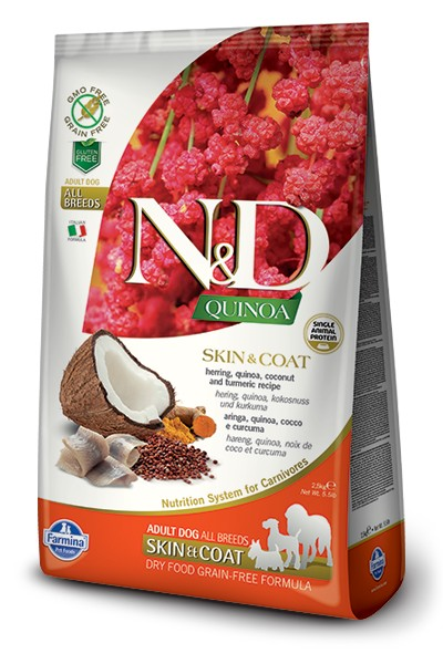 N&D GF Quinoa DOG Skin&Coat Herring & Coconut 7kg