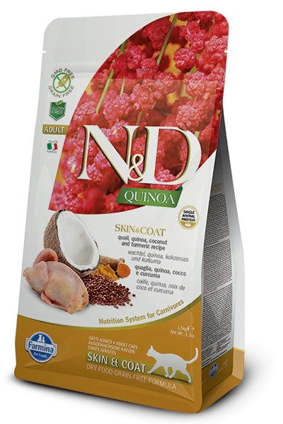 N&D GF Quinoa CAT Skin&Coat Quail & Coconut 5kg
