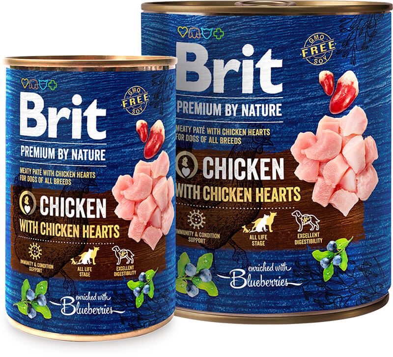 Brit Premium by Nature Chicken with Hearts konz. 800g