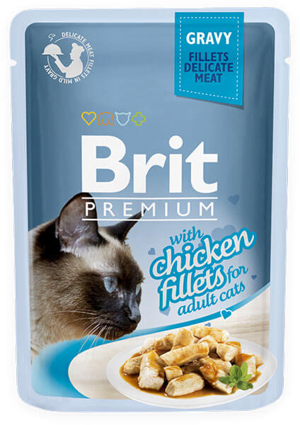 Brit Premium Cat Pouch with Chicken Fillets in Gravy for Adult Cats 85g