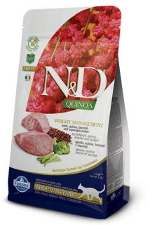 N&D GF Quinoa CAT Weight Management Lamb & Broccoli 5kg