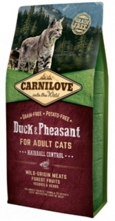 Carnilove Cat Duck & Pheasant Adult Hairball Control 6kg