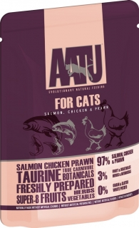 AATU Cat Salmon and Chicken and Prawn kapsička 85g