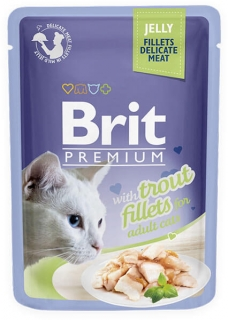 Brit Premium Cat Pouch with Trout Fillets in Jelly for Adult Cats 85g
