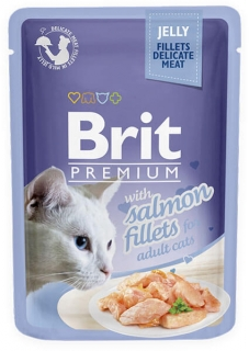 Brit Premium Cat Pouch with Salmon Fillets in Jelly for Adult Cats 85g