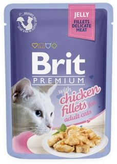 Brit Premium Cat Pouch with Chicken Fillets in Jelly for Adult Cats 85g