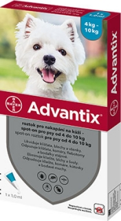 Advantix pro psy spot-on od 4-10kg 4x1ml