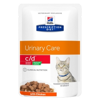 Hills Feline C/D Urinary Stress Reduced Calorie kapsička s kuřetem 12x85g