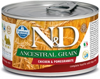 N&D DOG ANCESTRAL (LOW) GRAIN Adult Chicken &Pomegranate Mini 140g