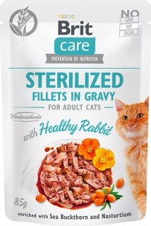 Brit Care Cat Fillets Gravy Sterilized Healthy Rabbit 85g